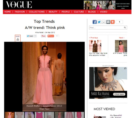 Manish Malhotra, Pink, a/w 13, trend, Vogue India, Blush, Magenta, Rose, Gold, Fashion, Zara, Pernia Qureshi, Pernias Pop Up shop, Zara India, Lakme Fashion week, Simone Rocha