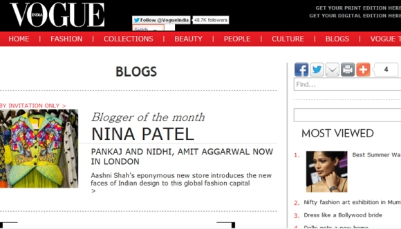 vogue india Aashni screen shot blogger of the month
