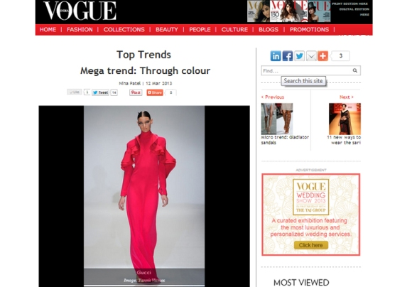 vogue india mega trend; through colour