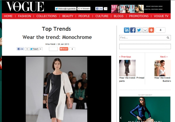 vogue india monochrome screen shot