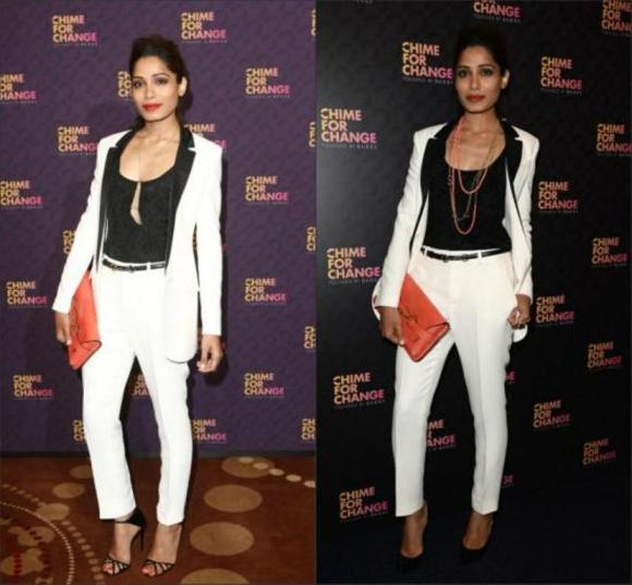 Frieda Pinto, slumdog millionaire, fashion, gucci, chime for change, bollywood, pant suit, white suit, monochrome