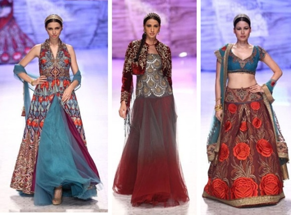 JJ Valaya, IBFW, 2013, India Bridal Fashion Week, bride, India, Couture, Bridal, White, Sari, Lengha, Kabir Bedi, Kangana Ranaut, fashion, Maharajas, Maharanis, Iberian, embroidery