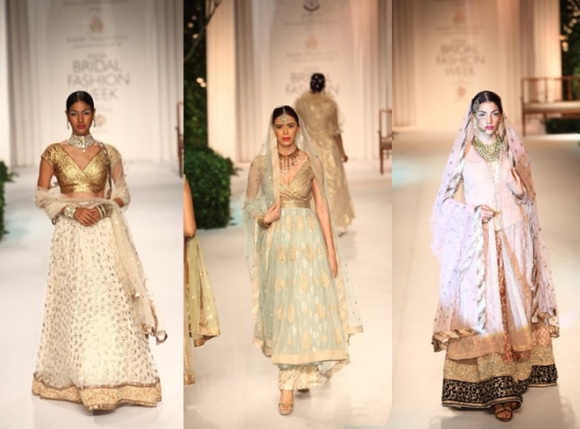 Kotwara by Meera & Muzaffar Ali, fashion, bridal, India Bridal Fashion Week, 2013, IBFW, sari, saree, lengha, wedding, gold, pastels,