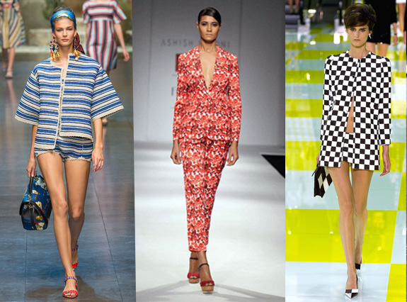 S/s 13 fashion trend, Ashish & Soni. Dolce & Gabbana, Louis Vuitton, pant suit, short suit, block colour trend, floral suits