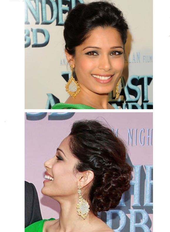 deepika padukone, bride, wedding, reception, updo, hairstyle, love aaj kal, Dia Mirza, Shantanu & Nikhil, Frieda Pinto