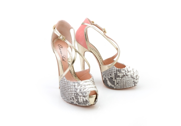 Aruna Seth, Snakeskin, AS350, Venus, Coral, Pair, Shoes, Platform