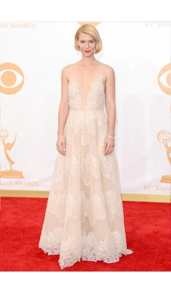 Claire Danes, Emmys 2013, Homeland, Armani Prive, Wedding, White, Bride, Bridal, Dress, Gown