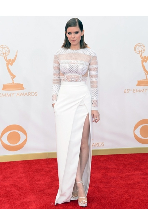 Kate Mara, Emmys, 2013, J Mendel, White, Wedding, Dress, gown, Bride, Bridal