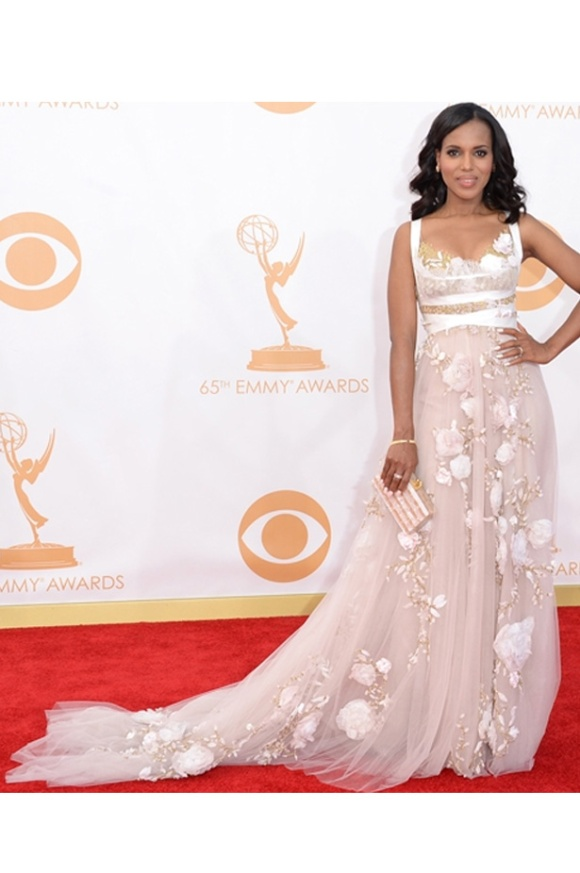 Marchesa, Kerry Washington, Emmys, 2013, Bride, Bridal, White, Wedding Dress,