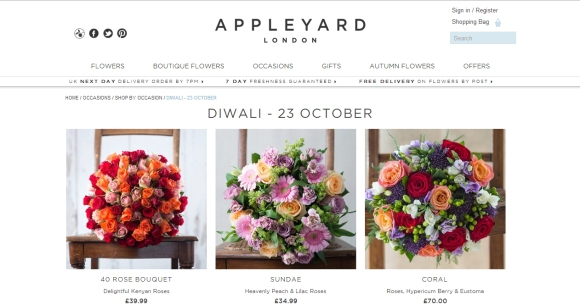 Appleyard, london, flowers, bouquets, diwali, festival of lights, india, hindu